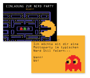 Einladungskarte Nerd Party Pac Man